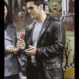 Joey Tribbiani Friends S06 Matt LeBlanc Black Leather Blazer