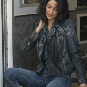 Hannah Khoury NCIS: New Orleans S06 Necar Zadegan Quilted Leather Jacket