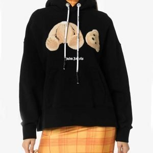 Bear Print Palm Angels Hoodie for Mens and Womens