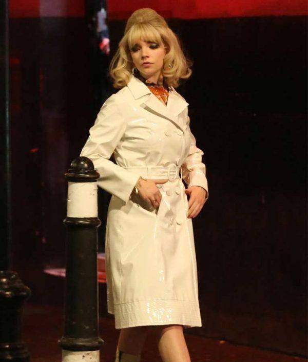 Sandy Last Night in Soho Anya Taylor White Leather Coat