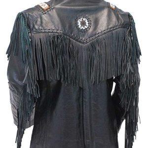 Tribal Bead Black Leather Fringe Jacket