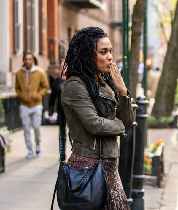 Freema Agyeman New Amsterdam S03 Green Suede Leather Jacket