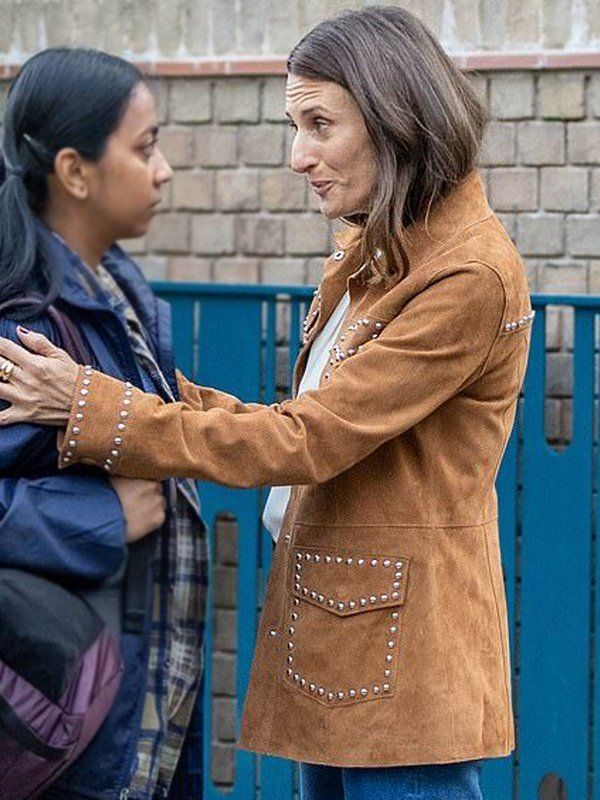 Camille Cottin Killing Eve Brown Suede Leather Jacket