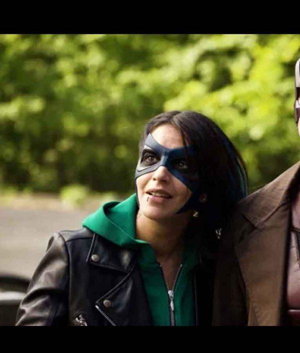 Leïla Bekhti How I Became a Super Hero 2021 Biker Leather Jacket