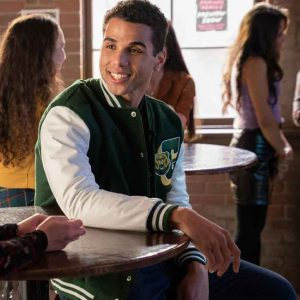 Mason Gooding Green and White Love, Victor S02 Andrew Letterman Jacket