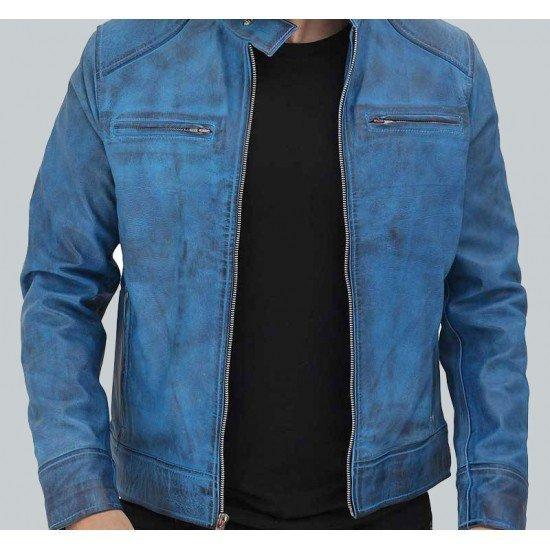Dodge mens Blue Biker Leather Jackets