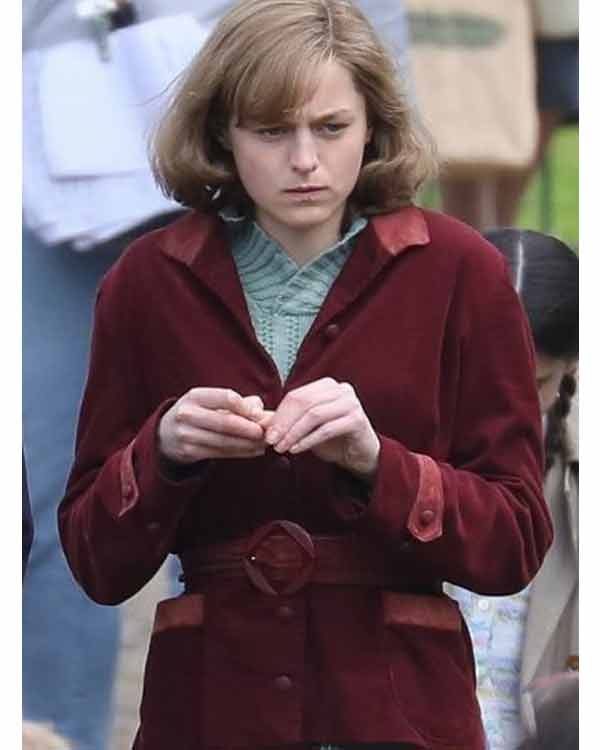Emma Corrin My Policeman 2021 Marion Suede Leather Coat
