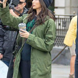 Gemma Chan The Eternals Green Cotton Coat