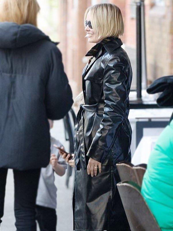 Lara Bingle birthday bash Long Black Leather Coat