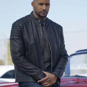 Henry Simmons TV Series Agents of Shield Black Leather Jacket