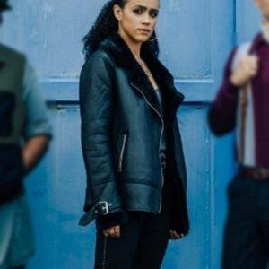 Nathalie Emmanuel Army of Thieves Black Leather Jacket