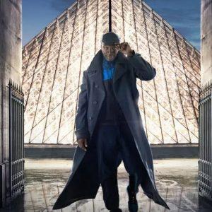 Omar Sy Lupin 2021 Arsene Diop Long Black Wool Coat