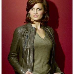 Castle Kate Beckett Green Leather Jacket