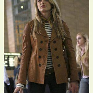 Serena Van Woodsen Gossip Girl 2021 Blake Lively Brown Leather Jacket