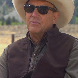 Kevin Costner TV Series Yellowstone Season 4 Brown Vest