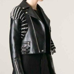 RHOBH Erika Jayne Black Pearl Pleated Moto Jacket
