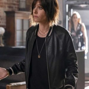 Katherine Moennig TV Series The L Word Generation Q Black Leather Bomber Jacket