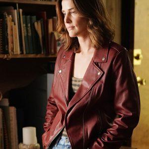 Cobie Smulders TV Series Stumptown S02 Red Leather Biker Jacket