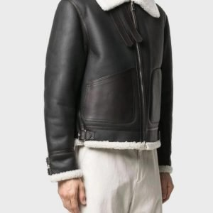Black Real Leather Men's White Shearling Collar Jacket