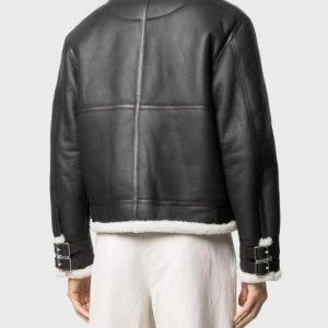 Black Genuine Leather Men's White Shearling Collar Jacket