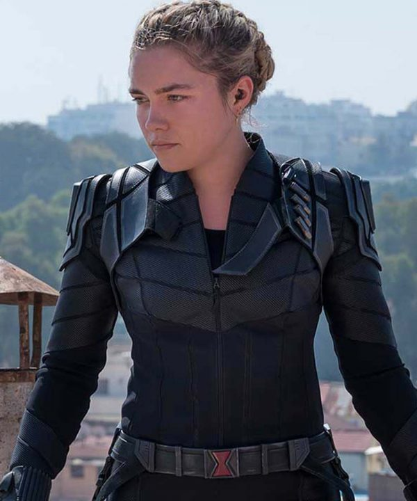 Yelena Belova Black Widow 2021 Black Leather Jacket