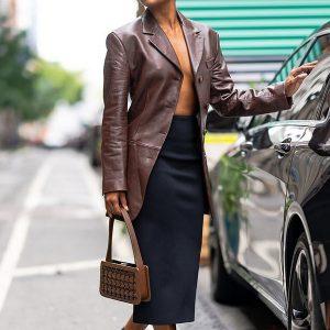 Brown Gabrielle Union Leather Blazer