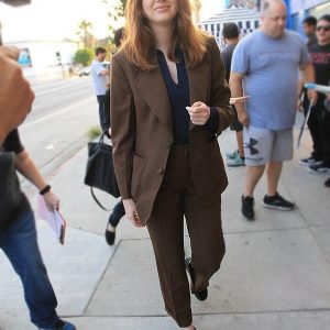 Karen Gillan Sold Out Screening Gunpowder Milkshake Brown Blazer Coat
