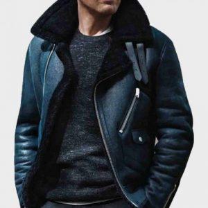 Sheepskin Shearling James Bond Blue Aviator Leather Jacket