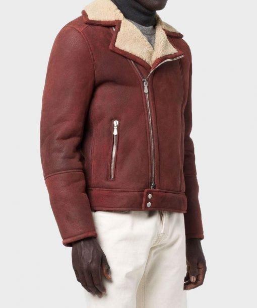 Shearling Men's Burgundy Leather Jacket