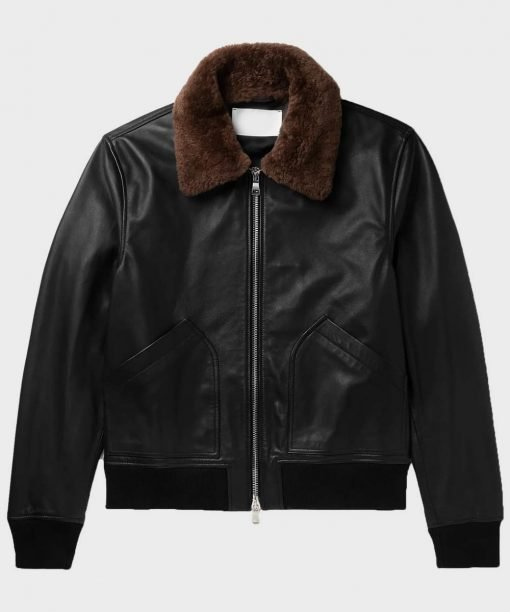 Mens Black Shearling Bomber Leather Jacket
