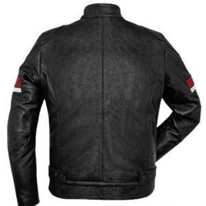 Red And White Striped Cafe Racer Men's Black Leather Jacket (1)