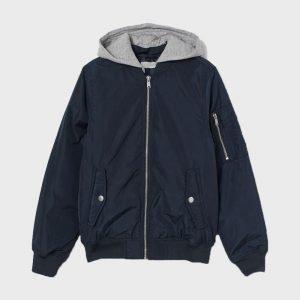 Mens Zipper Bomber Dark Blue Jacket