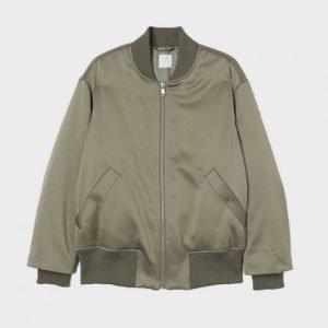 Mens Olive Grey Stylish Bomber Jacket for Sale