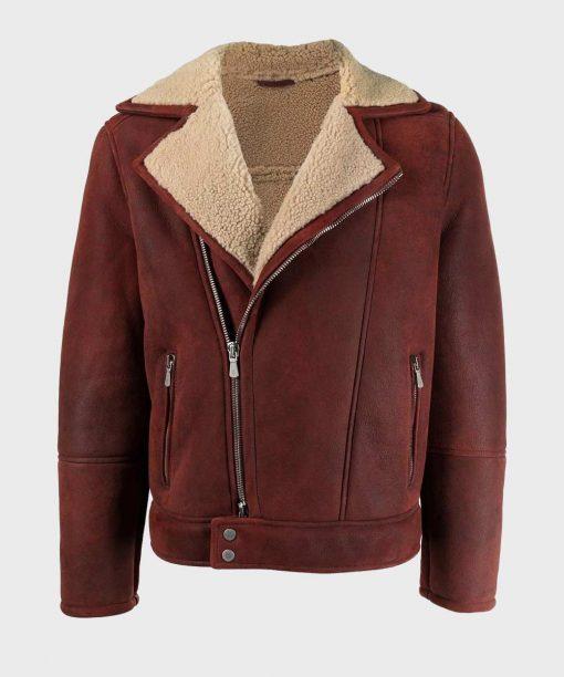 Men's Asymmetrical Burgundy Sheepskin Shearling Leather Jacket