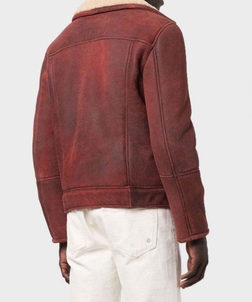 Men's Shearling Burgundy Leather Jacket