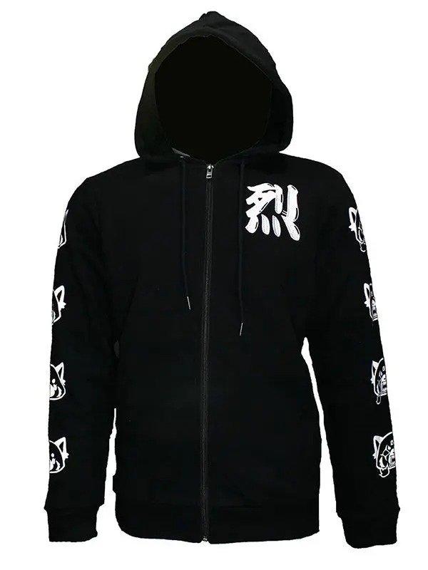 Aggretsuko Black Zipper Hoodie Sleeve Faces Black & White Hoodie