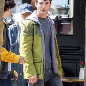 Ezra Miller Film The Flash 2022 Barry Allen Green Cotton Jacket