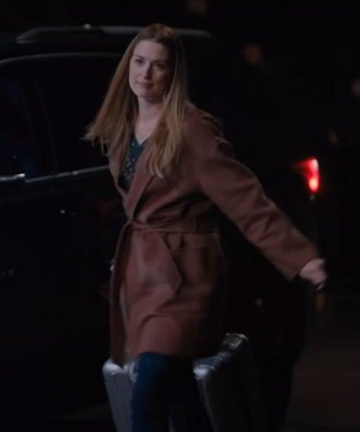 Alexandra Breckenridge TV Series Virgin River S03 Brown Mid-Length Coat