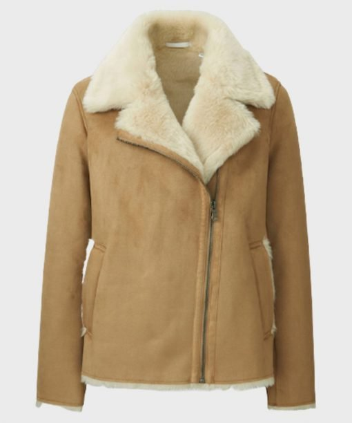 Faux Shearling Women's Brown Leather Jacket