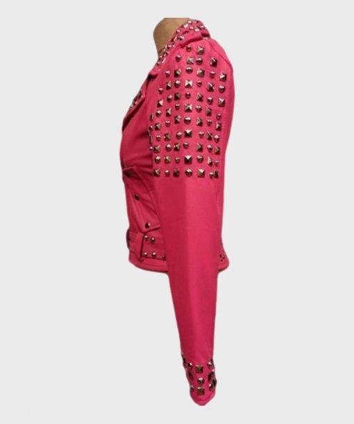 Womens-Pink-Biker-Golden-Studded-Jacket