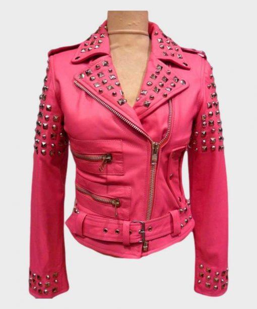 Golden Studded Pink Leather Jacket Womens Biker Jacket
