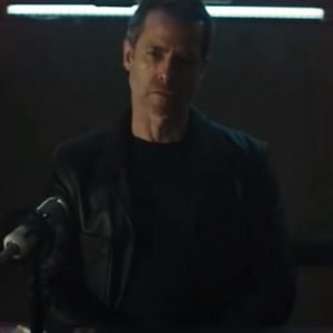 Guy Pearce Zone 414 (2021) David Carmichael Black Leather Blazer Jacket