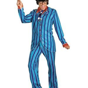 Blue and Red Austin Power Mike Myers Pinstripe Suit