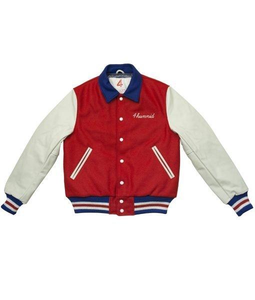 4Hunnid Red and White Varsity Jacket