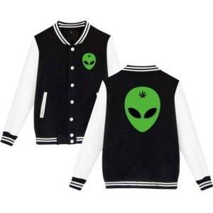 Alien Head Leaf Weed Black and White Letterman Jacket