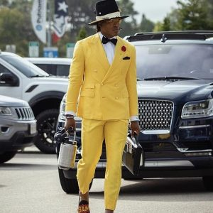 Cam Newton Style Suit Yellow Tuxedo