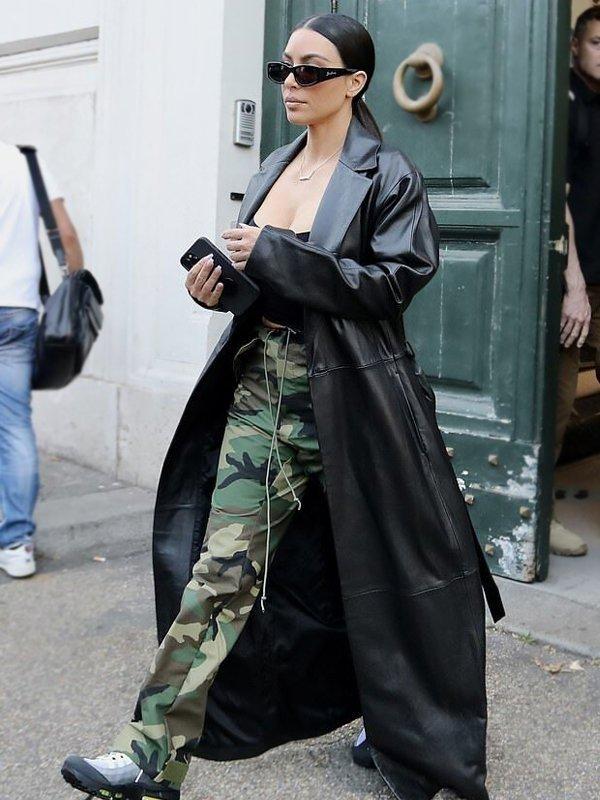 Kim Kardashian Leather Trench Coat