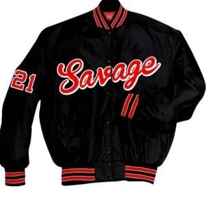21 Savage Black Satin Letterman Jacket for Men's