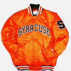 Orange Satin Syracuse Bomber Men's Jacket