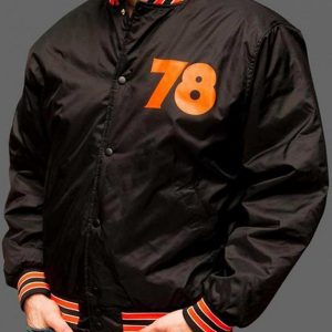 Black and Orange Halloween 78 Nylon Bomber Jacket